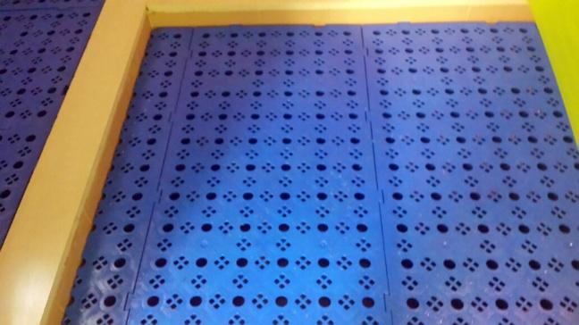 Losetas de plástico azules en vestuarios