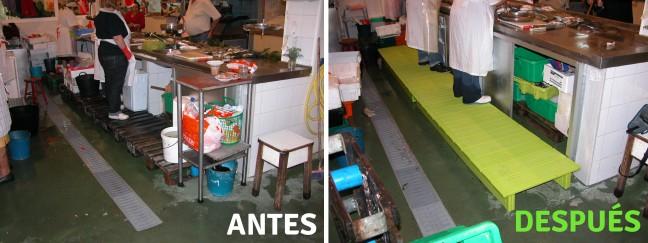 tarimas para pescaderia: antes y después