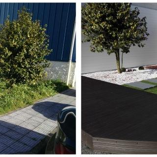 Antes y después de jardín con suelo de plástico