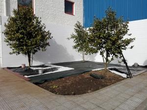 Colocación de malla antihierba en jardin con suelos de plastico