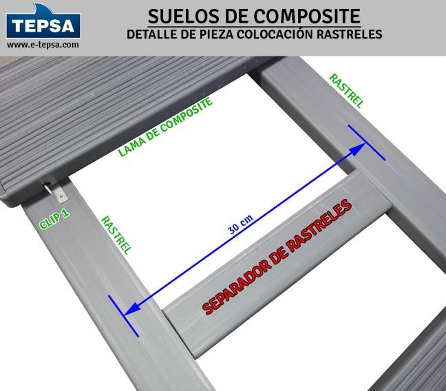 Separador para colocación sencilla de rastreles en suelos de lamas de composite