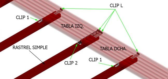 Esquema montaje tarima de composite con clips y rastreles