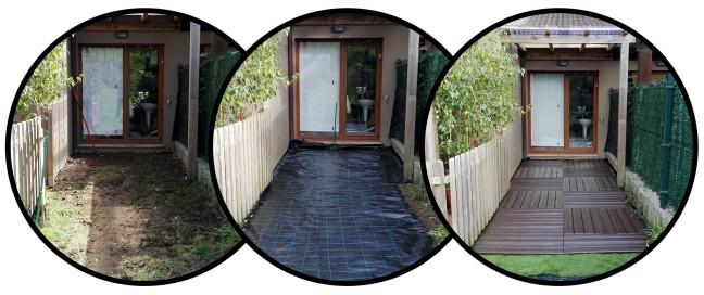 Revestimiento de suelo de jardín con baldosas auto-encajables