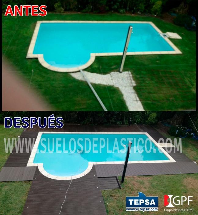 Antes y despues de instalación de suelo en piscina