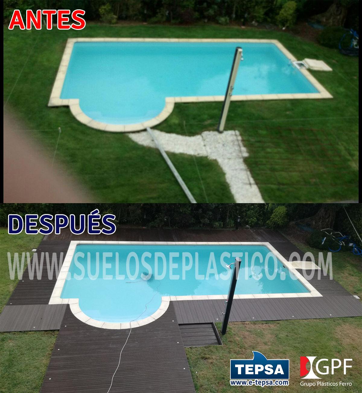 antes y despues de instalacin de suelo en piscina