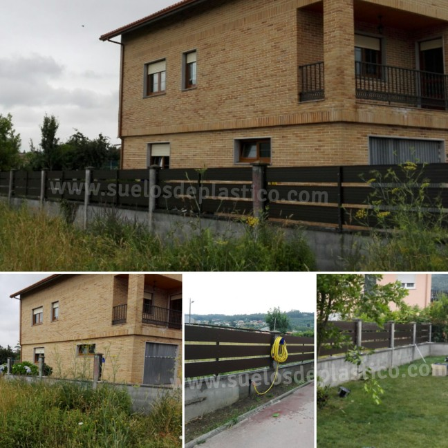 Valla de imitación madera para cerramiento de perímetro de jardín